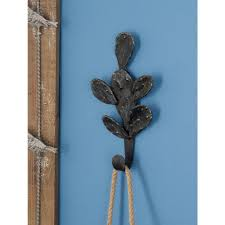 h rusted brown iron cactus wall hook 59432 the home depot