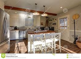 Renovated Kitchen Newly Renovated Kitchen Boasts Wood Beams On Ceiling Stock Photo