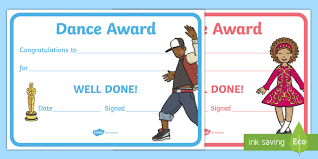 Dance Award Certificate Reward Certificates Dance Award Certificate Dance Award