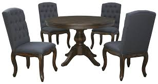 5Piece Round Dining Table Set with Upholstered Side Chairs