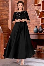 Designer Gown In Black Colour Art Silk Party Wear Gown In Black Colour