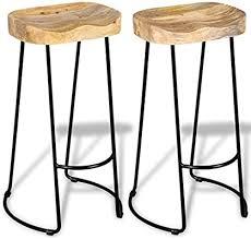 vidaXL 2x <b>Solid Mango</b> Wood Gavin <b>Bar Stools</b> Home Kitchen ...