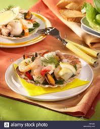 Seafood Au Gratin Stock Photo - Alamy