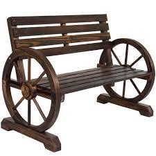 BCP Patio Garden Wooden Wagon Wheel Bench Rustic Wood Design Outdoor  Furniture - Walmart.com