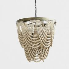 3 light metal and white wood bead chandelier