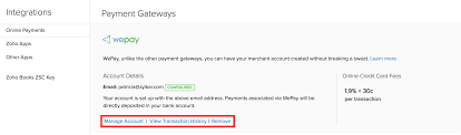 online payments zoho invoice help manage account