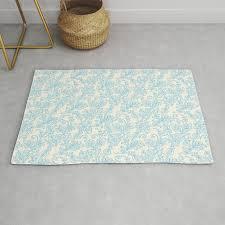 vintage retro ivory blue shabby fl damask pattern rug
