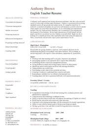 Awesome Collection Of English Teacher Resume Template Cv Examples