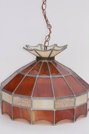 70s vintage swag lamp pendant light w amber stained glass leaded glass shade