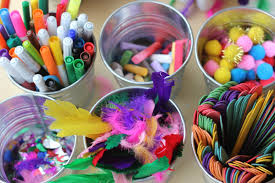 preschool art table. Art Materials Stored In Buckets On The Table For Free Access At Any Time Preschool