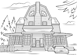 Small Picture scary haunted house halloween Coloring pages Printable