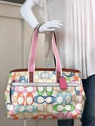 Image is loading COACH-HAMPTON-Scribble-Multi-Signature-Large-Tote-Shoulder-