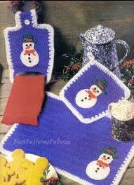 Vintage Crochet <b>Pattern Christmas</b> Snowman Motif <b>Placemat</b> Pot ...