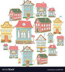Set Of Hand Drawn Cute Cartoon Houses