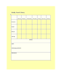 Food Log Template Word Qoopon Co