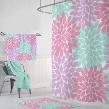 pink purple aqua flower shower curtain custom girl monogram per