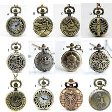 apw022 whole 12 designs vintage bronze small mixed pocket watch necklace steampunk style