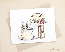 Get Well Card Helping Hand Cute Pug Get Well Card Funny Get Well Soon Card Cute Dog Card Sick Card Recovery Card Sympathy Card With Pugs By Inkpug