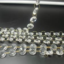 s 100m 14mm clear color octagon beads with gold rings decorative glass crystal garlands table centerpieces