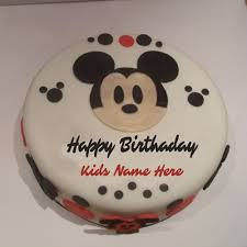 Write Name On Mickey Mouse Birthday Greetings Cake For Kids
