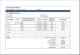 Invoice Schedule Template Ms Excel Printable Pet Sitting Invoice Template Excel Templates