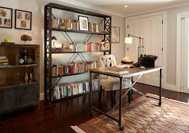 vintage office decorating ideas. brilliant vintage officeindustrial home office with vintage bookshelves and small table on  wheels also white chairs intended decorating ideas