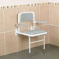 padded wall mounted shower seat with