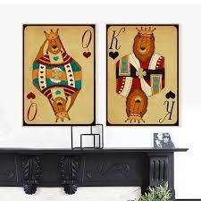 <b>Poker King</b> Queen Print Poster <b>Abstract</b> Cartoon Lion Canvas ...
