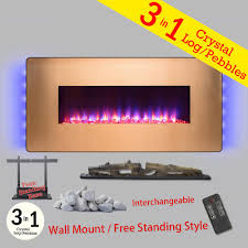wall mount freestanding convertible electric fireplace heater in gold w pebbles logs crystal remote control