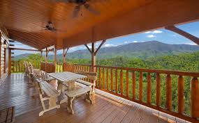 Large Wooden Deck With Picnic Table At Majestic View Lodge Cabin In Pigeon  Forge
