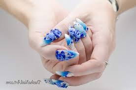 Blue Flower Nail Designs 60 Flower Nail Designs Pictures With Tutorials Yve Style Com