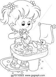 brushing teeth drawing. Simple Brushing Child Brushing Teeth In Brushing Teeth Drawing E