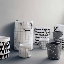 modern ferm living grid laundry baskethamper  blackwhite