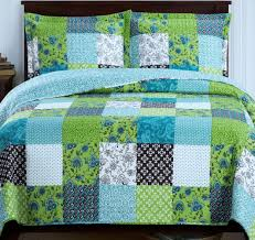 Amazon.com: Country Cottage Patchwork Blue Green Quilt Coverlet ... & Amazon.com: Country Cottage Patchwork Blue Green Quilt Coverlet Set  King/Cal King Oversized: Home & Kitchen Adamdwight.com