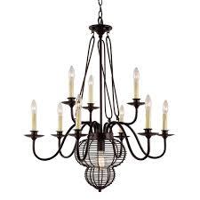 transglobe 10 light black chandelier