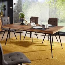 Esszimmertisch Holz 200x77x100 Cm Sheesham Massiv Esszimmertisch Massivholz Mit Design Metall Beinen Holztisch Tisch Esszimmer Küchentisch