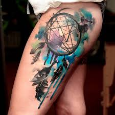Dream Catcher Tattoo On Thigh 100 Dreamcatcher Tattoo Designs for Women Art and Design 13