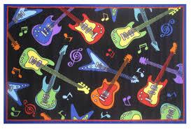 appealing guitar area rug for cool bedroom floor decor