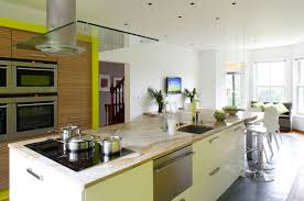 grandiose ceiling chimney hood over large kitchen island with sink also top stove as well as white gloss acrylic panels as modern kitchen decorating designs