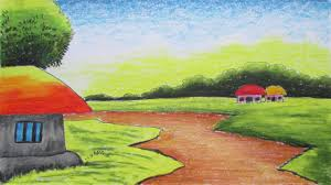 easy landscape paintings for kids how to draw a village landscape with oil pastels episode