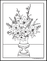 printable flower bouquet coloring page vase on table