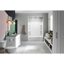sterling 5 ft left hand drain rectangular alcove bathtub with wall set and
