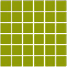 2x2 Inch Lime Green Glass Tile