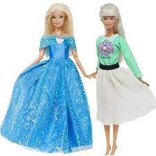 2 Cái/lốc Tay Búp Bê Váy Công Chúa Xanh Dương Xanh Lá Hoa Cúc Váy Quần Áo  Cho Búp Bê Barbie 12 ''Phụ Kiện Trẻ Em đồ Chơi|Dolls Accessories