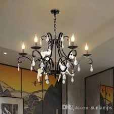traditional iron chandelier re living room birds lights restaurant coffee bar creative black iron pendant lamps resin bedroom lamp