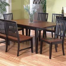 black kitchen dining sets: square black wooden table  dining room furniture rectangle brown glossy wooden table and black wooden bench with back on cream laminated wooden floor as well as dining benches and dining sets for small spaces inspiring dining x