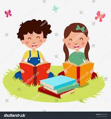 kids read book cartoon vector 374804236