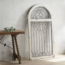neoteric arched wall decor white antiqued arch spanish style wooden frame and wrought iron window metal