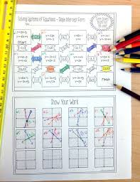 systems of equations maze slope intercept form solve by graphing math worksheets algebra and equation