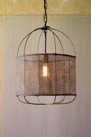 metal drum light pendant with vintage fabric shade in gold metal drum light